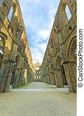 Saint or San Galgano uncovered Abbey Church ruins. Tuscany, ...