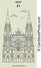 saint-ouen, abadía, france., rouen, iglesia, señal, icono