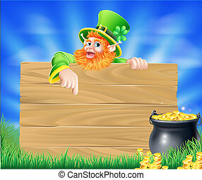 Saint Particks Day Leprechaun Sign - St Patricks day...