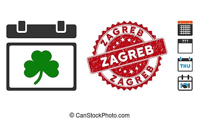 Saint Patrick Calendar Day Icon with Scratched Zagreb Stamp