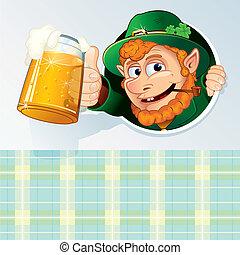 Saint Patrick Card - Happy St. Patrick's Day, Cartoon Card...