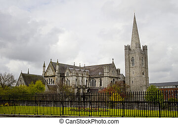 Saint Patrick Cathedral and park in Dublin, Ireland