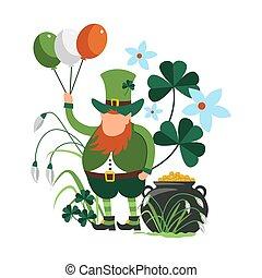 Saint Patrick celebration, symbolic images of dwarf and pot