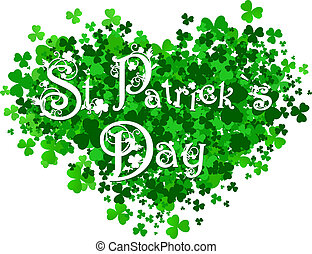 Saint Patrick Day Abstract Heart With Floral Decorated Greeting