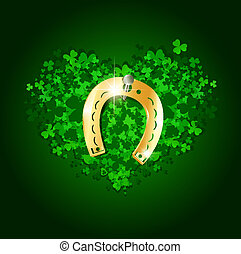 Saint Patrick Day Abstract Heart With Lucky Golden Horseshoe