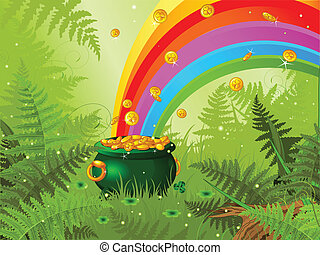 Saint Patrick Day Background - Pot full of golden coins and...