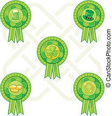 Saint Patrick Day Badges Set
