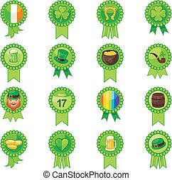 Saint Patrick Day Badges Set - Badges set with Saint Patrick...