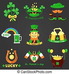 Saint Patrick day Irish holiday vector icons set