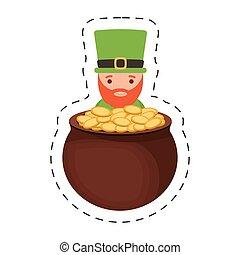saint patrick day leprechaun gold cauldron