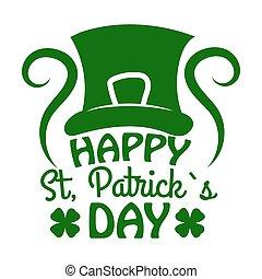Saint Patrick day Leprechaun hat and clover vector Irish holiday