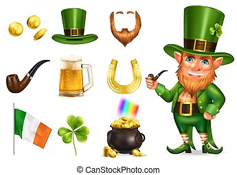 Saint patrick day realistic set of leprechaun in green hat pot with treasures shamrock horseshoe irish flag icons isolated vector illustration