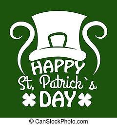 Saint Patrick day symbol of Leprechaun hat and four-leaf clover leaf or lucky shamrock.