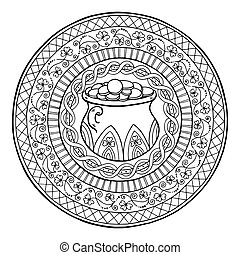 Saint Patrick Day Theme mandala with Irish pot of gold and golden coins with clover and ethnic floral ornament.