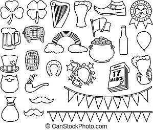 Saint Patrick Day thin line icons