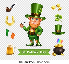 Saint patrick holiday accessories transparent set of green hat smoking pipe mug of beer pot full of gold coins realistic vector illustration