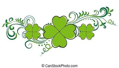 saint patrick dzień, zielony, koniczyna, zaprojektujcie element