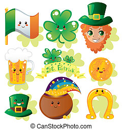 Collection set of miscellaneous Saint Patrick day holiday design elements