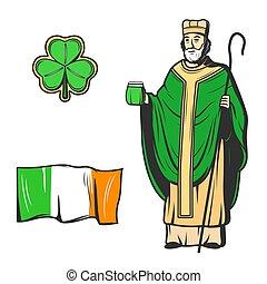 Saint Patrick, green clover leaf and Ireland flag