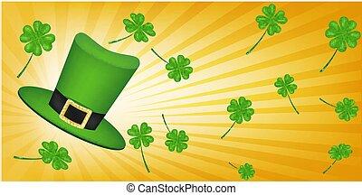 saint patrick hat and four leaf clover