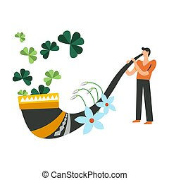 Saint Patrick holiday celebration traditional vegetation and man