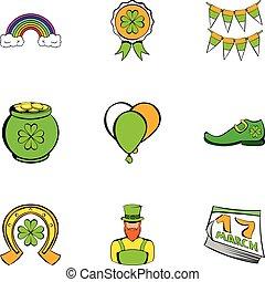 Saint patrick icons set, cartoon style
