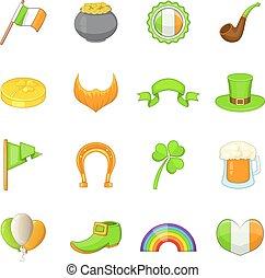 Saint Patrick items icons set, cartoon style