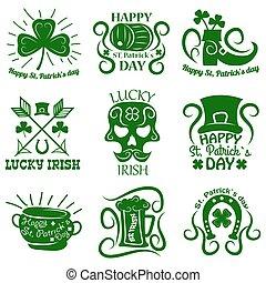 Saint Patrick logos set of clover leaf and Leprechaun symbols