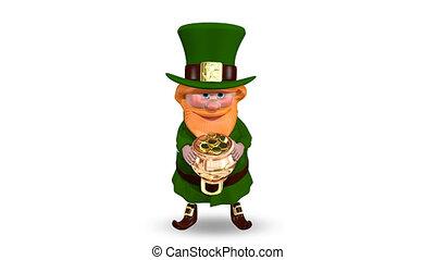 Saint Patrick Pot with Coins - Animation Saint Patrick Pot...