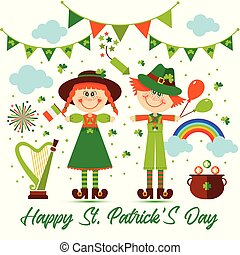 Saint Patrick s day background with people