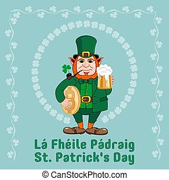 Saint Patrick s Day party flyer. Leprechaun with a mug of beer, a smoking pipe and bitcoin