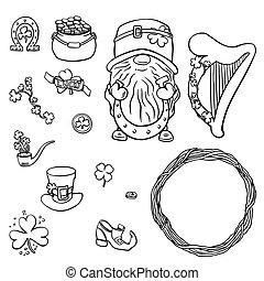 Saint Patrick s Day traditional symbols collection. Irish music, flags, beer mugs, clover, pub decoration, rainbow, leprechaun hat, pot of gold coins.