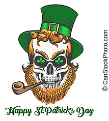 Saint Patrick Skull - St.Patrick skull with smoking pipe and...