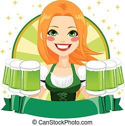Saint Patrick Waitress Green Banner