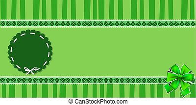 Saint Patricks banner with shamrocks lace and round stamp