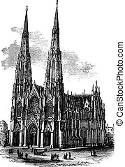 Saint Patrick's Cathedral in Armagh, Ireland, vintage...
