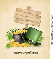 Saint Patrick's Day background with a sign, clover leaves,...