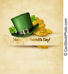 Saint Patrick's Day background with clover leaves, green hat and gold coins. Vector illustration.