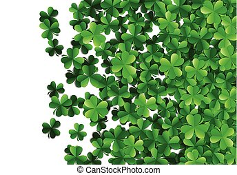 Saint Patricks day background with sprayed green clover...