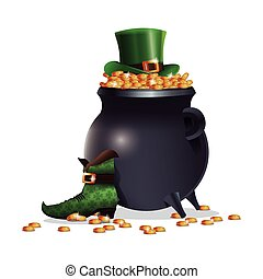 saint patricks day boot hat pot coins