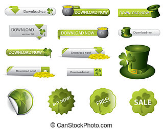 Saint Patrick's Day button set - Saint Patrick's Day...