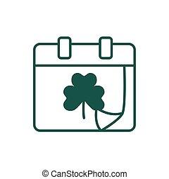 saint patricks day calendar with clover leaf line style