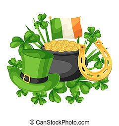 Saint Patricks Day card. Flag Ireland, pot of gold coins,...