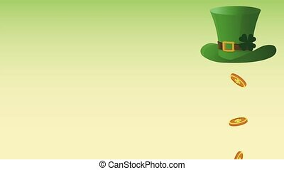 Saint patricks day card HD animation - Coins falling from...