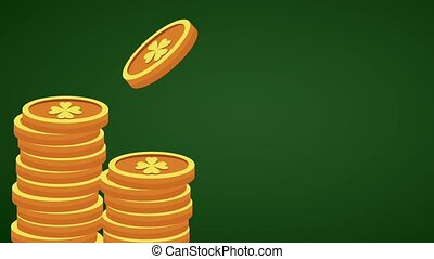 Saint patricks day card HD animation - Coins stacked over...