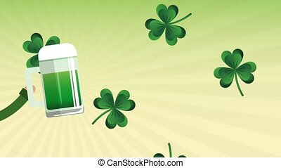 Saint patricks day card HD animation - Hand holding green...
