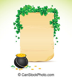 illustration of Saint Patrick's Day card with clove leaf and gold pot