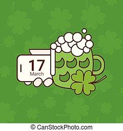 Saint Patricks Day Card With Green Mug Of Beer On Shamrock Background