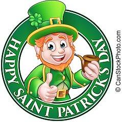 Saint Patricks Day Cartoon Leprechaun Sign - Cartoon...