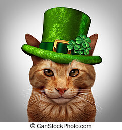 Saint Patricks Day Cat - Saint Patricks day cat concept as a...